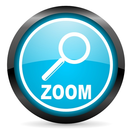 zoom blue glossy circle icon on white background Stock Photo - 16678913