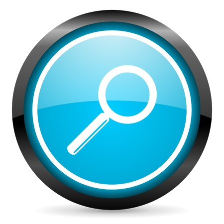search blue glossy circle icon on white background Stock Photo - 16677844