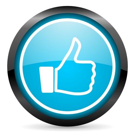 i like: thumb up blue glossy circle icon on white background