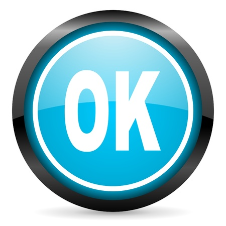 ok blue glossy circle icon on white background Stock Photo - 16677587