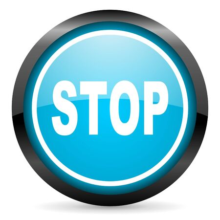 stop blue glossy circle icon on white background Stock Photo - 16677674
