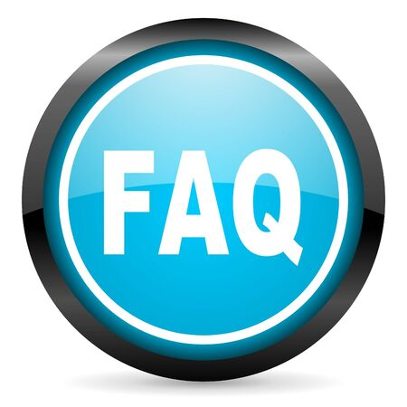 faq blue glossy circle icon on white background