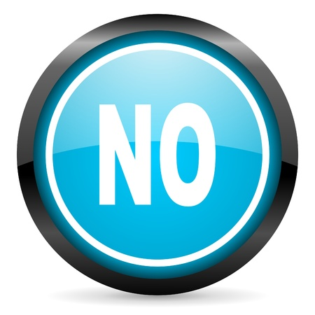 negate: no blue glossy circle icon on white background