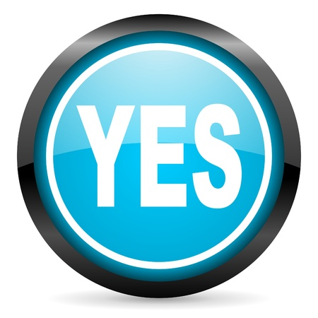 yes blue glossy circle icon on white background photo