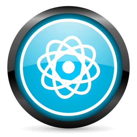 atom blue glossy circle icon on white background Stock Photo - 16678980