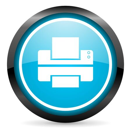 printer blue glossy circle icon on white background Stock Photo - 16674680