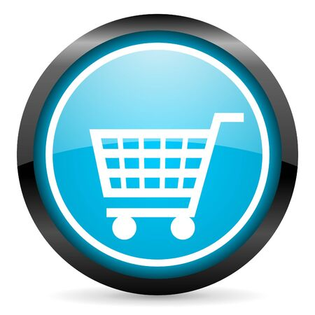 shopping cart blue glossy circle icon on white background Stock Photo - 16678563
