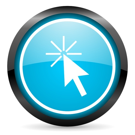 click here blue glossy circle icon on white background Stock Photo - 16677622