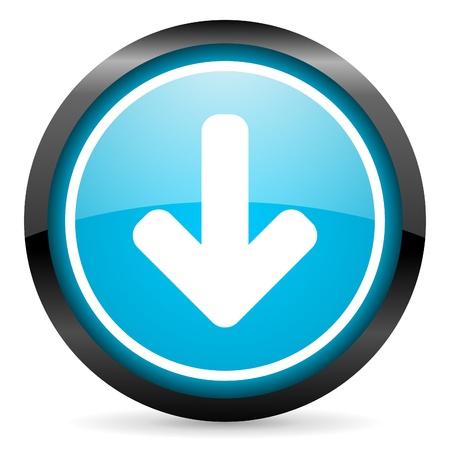 move arrow icon: flecha hacia abajo icono azul brillante c�rculo sobre fondo blanco Foto de archivo