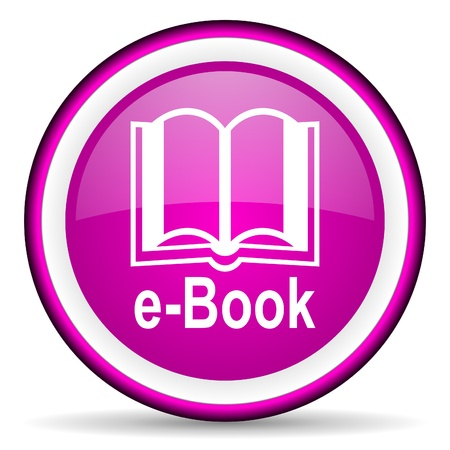 e-book violet glossy icon on white background Stock Photo - 16676234