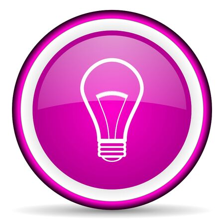 light bulb violet glossy icon on white background photo