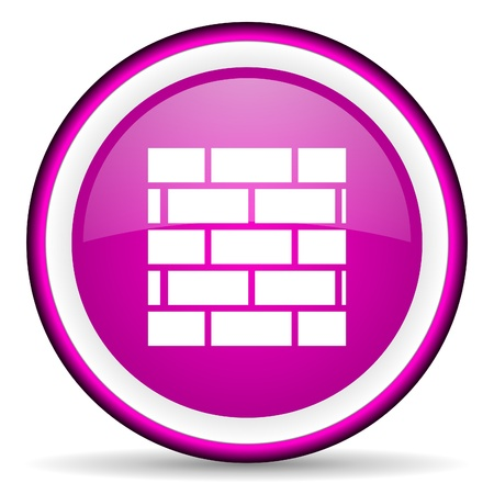firewall violet glossy icon on white background Stock Photo - 16680465