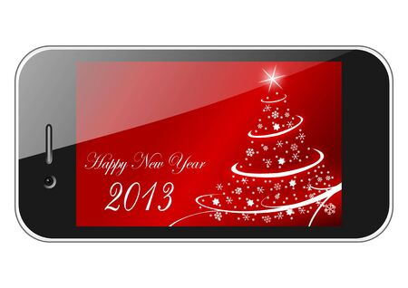 2013 new years illustration with christmas tree and snowflakes on red background