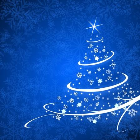 Weihnachtskarte Illustration mit Weihnachtsbaum auf blauem Hintergrund