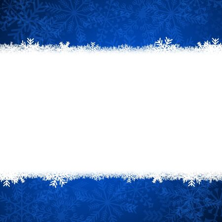 newyear card: christmas card illustration with snowflakes on blue background Stock Photo