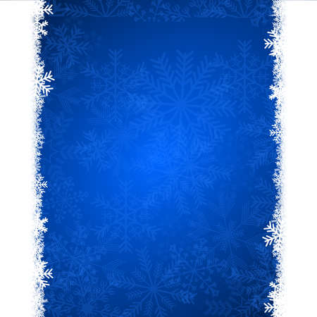 christmas card illustration with snowflakes on blue background illustration