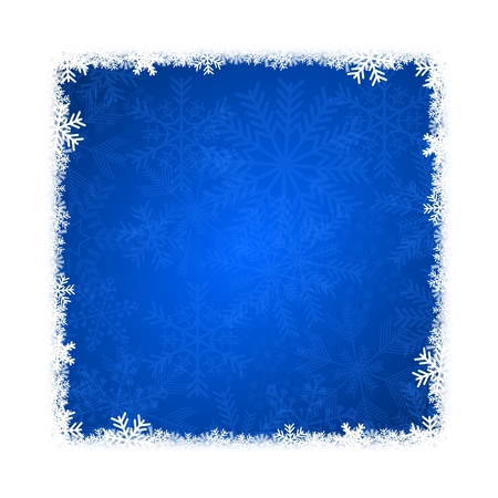 christmas card illustration with snowflakes on blue background Stock Illustration - 16736605