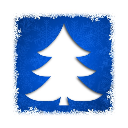 christmas card illustration with christmas tree on blue background illustration