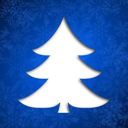 christmas card illustration with christmas tree on blue background Stock Illustration - 16736842