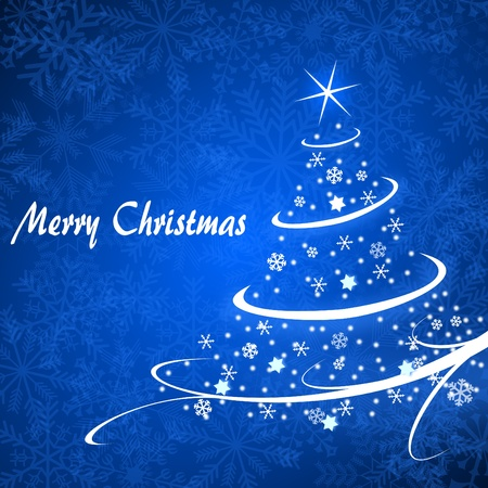 newyear: christmas card illustration with christmas tree on blue background Stock Photo