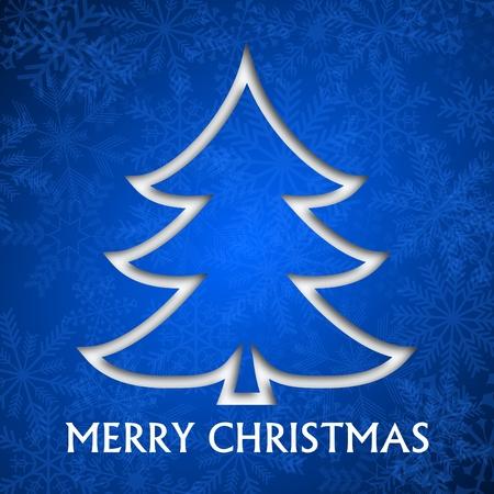 christmas card illustration with christmas tree on blue background Stock Illustration - 16736619