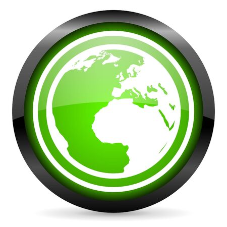 earth green glossy icon on white background photo