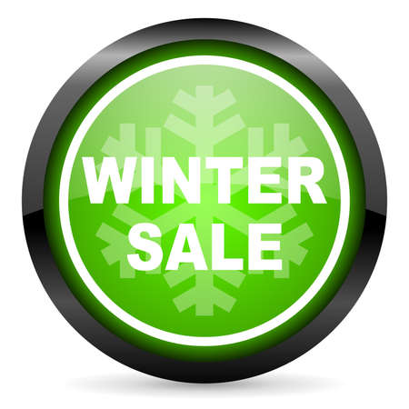 winter sale green glossy icon on white background photo