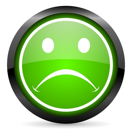 cry green glossy icon on white background Stock Photo - 16736669
