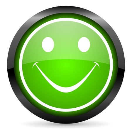 smile green glossy icon on white background Stock Photo - 16736659