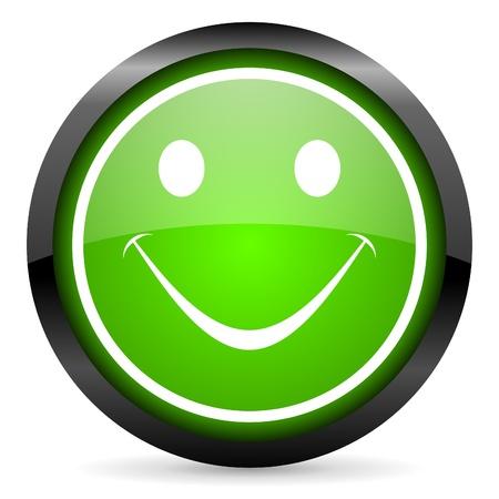 smile green glossy icon on white background Stock Photo - 16736659