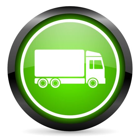 delivery green glossy icon on white background Stock Photo - 16736671