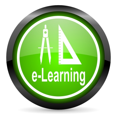 e-learning green glossy icon on white background photo