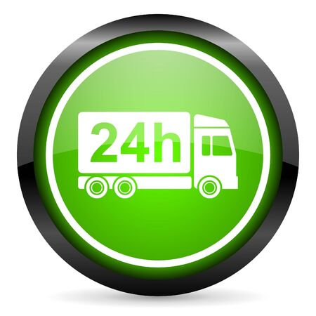 delivery 24h green glossy icon on white background Stock Photo - 16736807