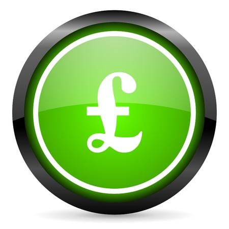 pound green glossy icon on white background Stock Photo - 16736731
