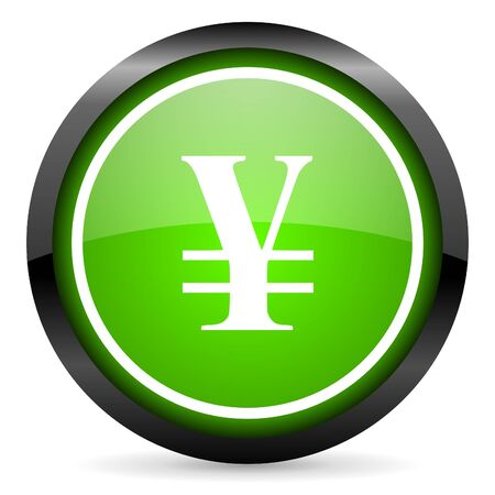 yen green glossy icon on white background Stock Photo - 16736711
