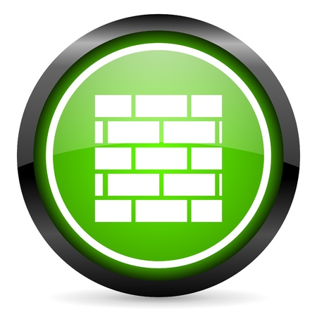 firewall green glossy icon on white background Stock Photo - 16736701