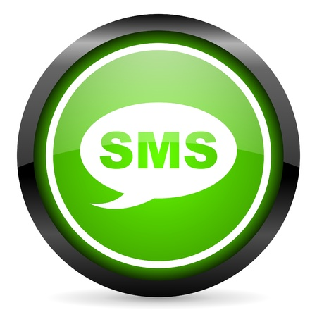 sms green glossy icon on white background photo