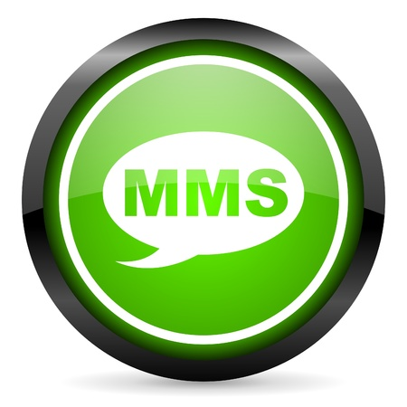 mms green glossy icon on white background Stock Photo - 16736673