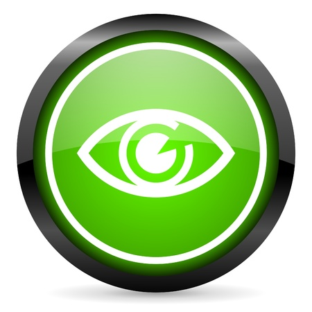 eye green glossy icon on white background Stock Photo - 16736617