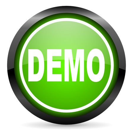 demo green glossy icon on white background photo