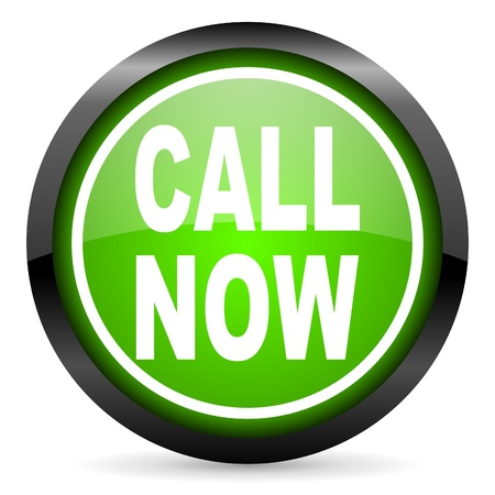 call now green glossy icon on white background photo