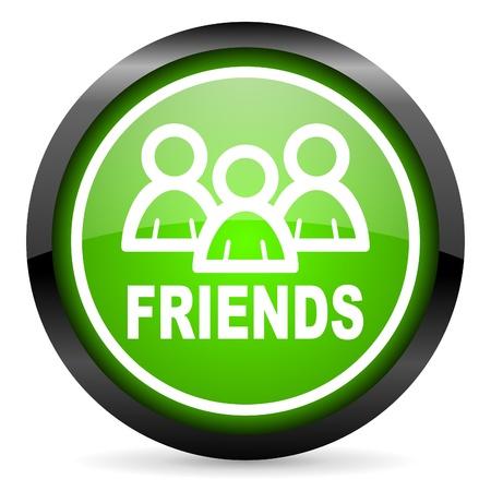amis icône verte brillante sur fond blanc