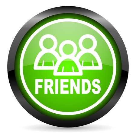 friends green glossy icon on white background photo