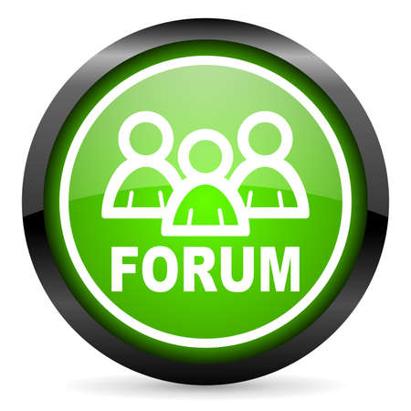 forum green glossy icon on white background Stock Photo - 16736825