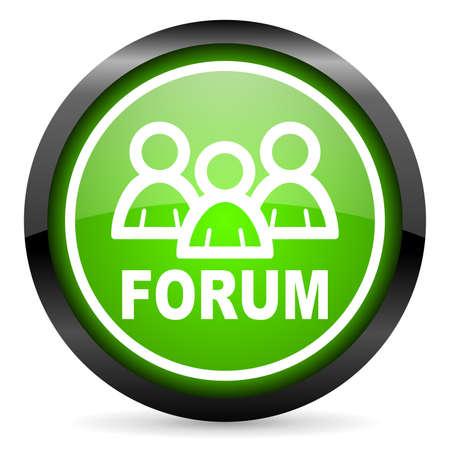forum green glossy icon on white background Stock Photo - 16736825