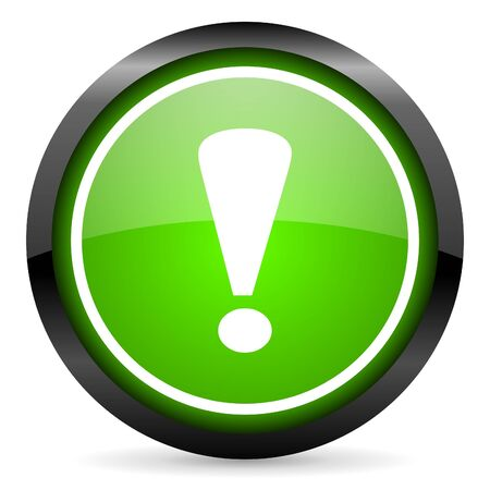 exclamation sign: exclamation sign green glossy icon on white background Stock Photo