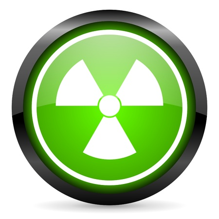 radiation green glossy icon on white background Stock Photo - 16736732