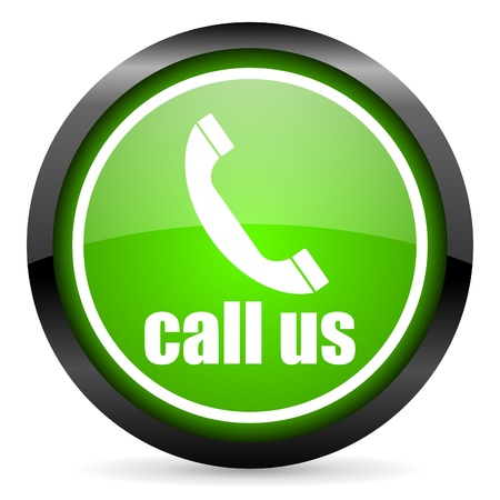 call us green glossy icon on white background photo
