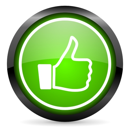 thumb up green glossy icon on white background Stock Photo - 16736672