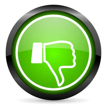 thumb down green glossy icon on white background Stock Photo - 16736676
